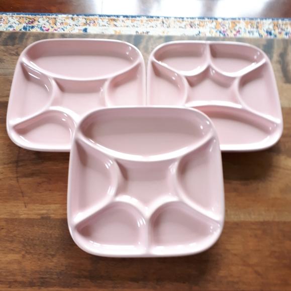 Vintage Japan Pink Sushi Plates. Set of 3